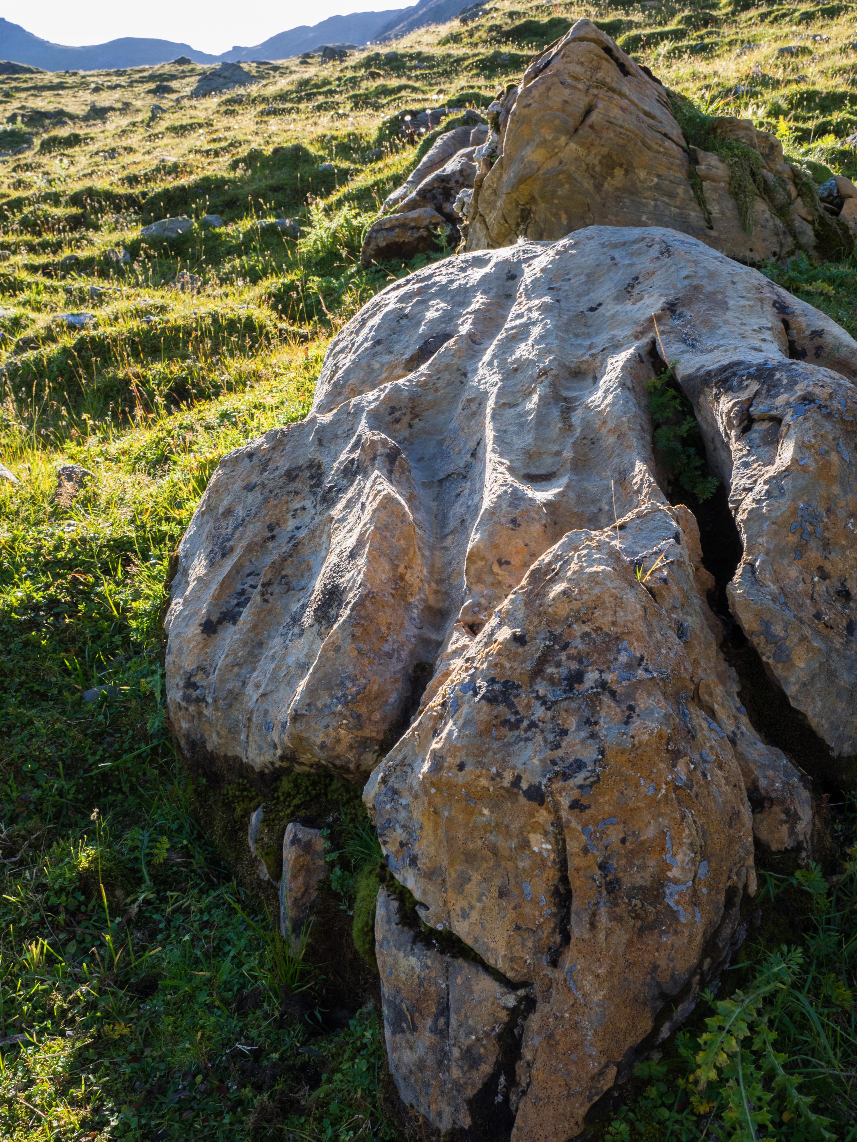 Marmorblöcke mit Rinnen im hinteren Voldertal