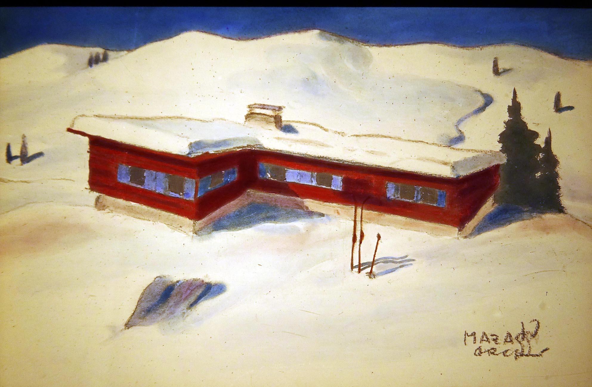 Entwurf von Siegfried Mazagg für eine Skihütte