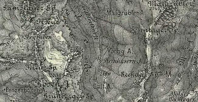 Karte mit dem Rosenjochgletscher