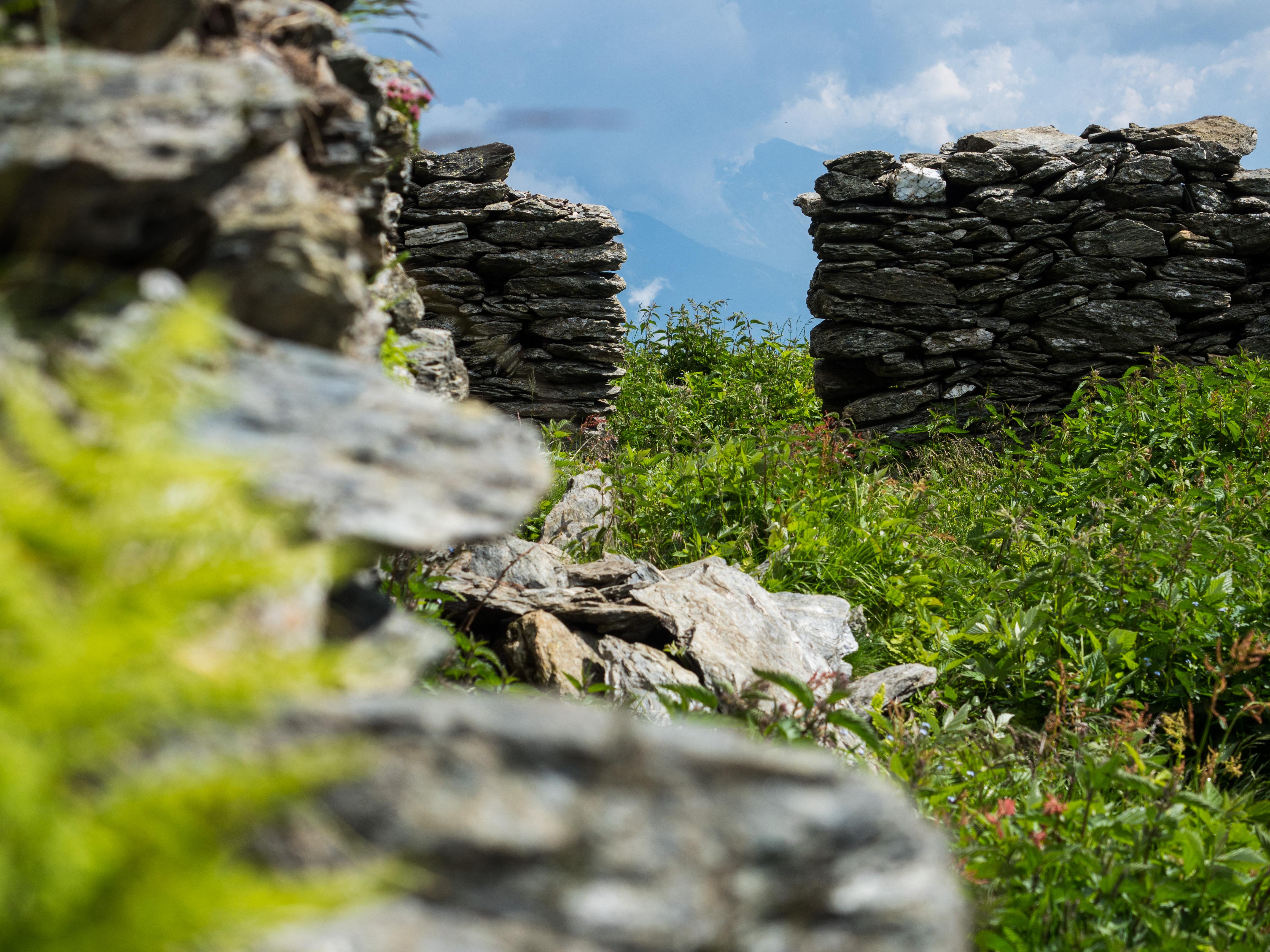 Alte Mauern einer Almhütte