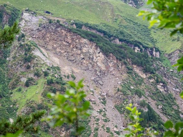 Bergsturz Anbruchsgebiet im Voldertal